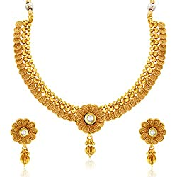 Sukkhi Eye-Catchy Jalebi Design Gold Plated Necklace Set For Women