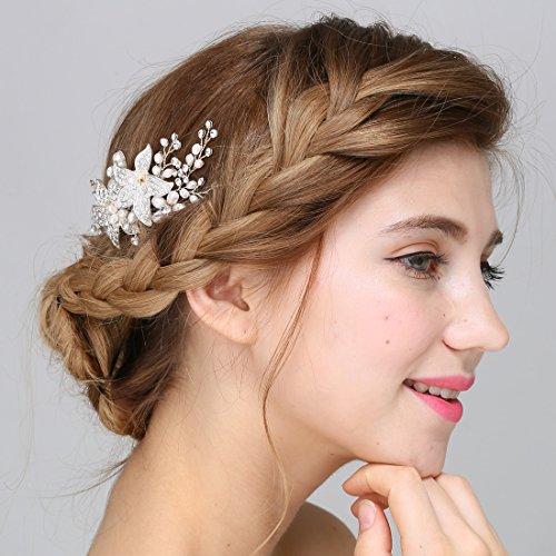 Braut Vintage Silber Haar Kamm Crystal Strass Perle Blume Hochzeit Haarschmuck -