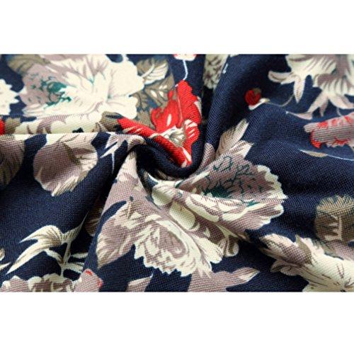 Honghu Herren Casual Slim Fit Stretch Langarm Hemden Button-down Drucken Printing Freizeithemd Mehrfarbig