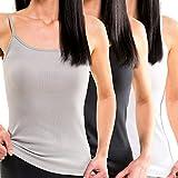 HERMKO 1560 3er Pack Damen Träger Top aus 100% Baumwolle, Größe:40/42 (M), Farbe:Mix w/s/g