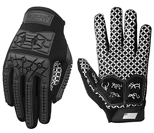 Seibertron Lineman/Linebacker Handschuhe 2.0 Padded Palm American Football Receiver Gloves, Flexibler TPR-Aufprallschutz Back of Hand Handschuhe Erwachsener Sizes Black XL
