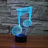 Nachtlicht Illusion LED-Nachtlicht 3D, 7 Farben blinkend, Berührungsschalter USB angetrieben, Schlafzimmer-Schreibtisch-Lampe, für Kindergeschenke Hauptdekoration-ideale Kunst und Handwerk