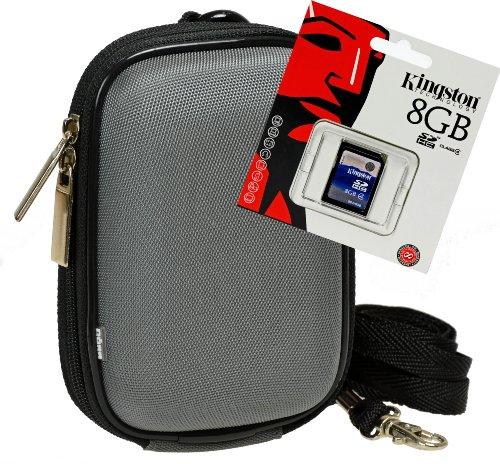 Foto Kamera Tasche BOX grau Set mit 8GB SD Speicherkarte für Canon Ixus Sony Cybershot WX Nikon Coolpix Panasonic Lumix und viele mehr