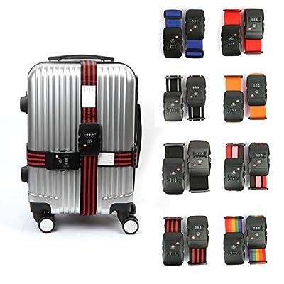 sourcingmap® TSA 3-dial Password Lock Travel Luggage Strap Adjustable Suitcase Baggage Bag Belt 5*200cm - low-cost UK light store.