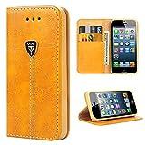 iDoer iPhone 5S Hülle Hochwertig handyhülle mit Klappe Tasche handyhuelle schutzhülle Handys Schutz Hülle Leder Magnet Handytasche für iPhone 5 5S SE mit Ständer - Gelb