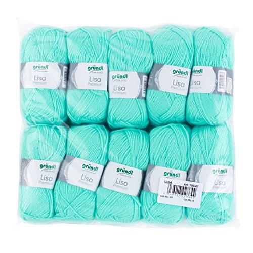 Gründl 760-07 Lisa Premium Wolle, Polyacryl, pastelltürkis, 32 x 27 x 6 cm, 10er pack (Die Waschbar Ist Aus Decke Merinowolle)