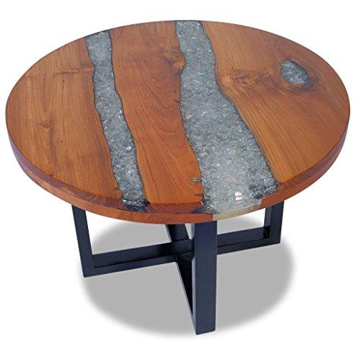 senluowx Couchtisch Resin Teak 60cm (Glas-wohnzimmer-akzent-tabelle)