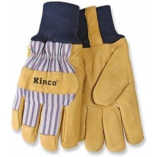 Kinco Pigskin Leather HeatKeep Thermal Knit Wrist Work Gloves (Tan/Blue, Medium) by Kinco International