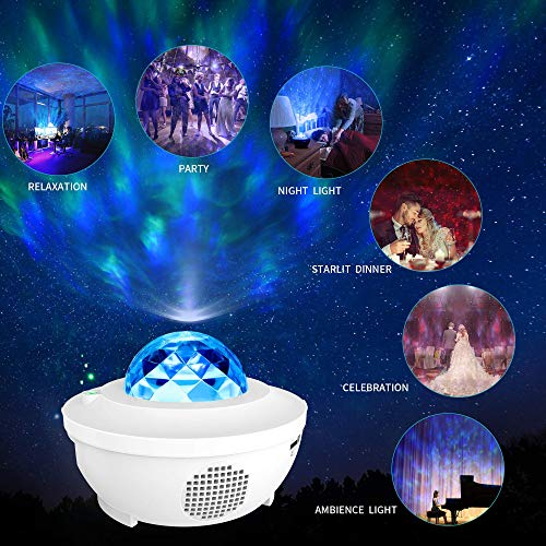 LBell Lámpara Proyector Estrellas & Océano 2 in 1, Lámpara de Nocturna con Control Remoto Audio Bluetooth 10 Modos de Luz y Temporizador para Niños, Adulto, Cumpleaños y Fiesta