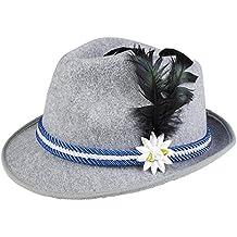 erdbeerloft - Bayerischer filzartiger Hut mit Feder, Edelweiß und Kordel Kostüm, Viele Farben