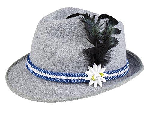 erdbeerloft - Bayerischer filzartiger Hut mit Feder, Edelweiß und Kordel Kostüm, (Mann Kostüm Berg Halloween)