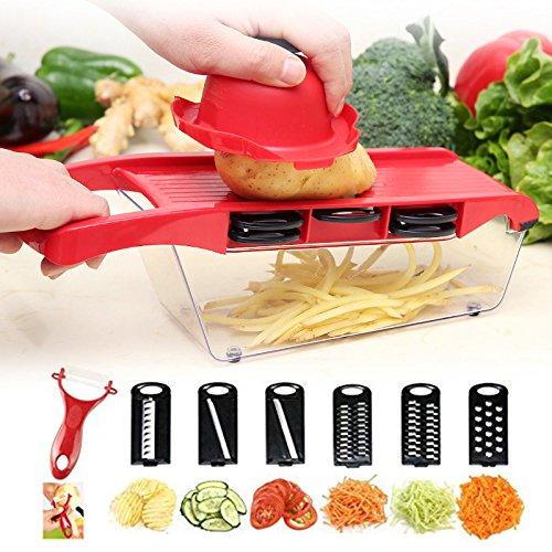 Gemüseschneider - Haushaltsgemüse, Kartoffeln, Gurken, 6-in-1-Multifunktions-Radieschenscheiben...