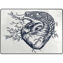 Zona Alfombra, serpiente corazón símbolo de amor arte impresión alfombra–Funda de poliéster suave antideslizante alfombrillas de baño moderno para dormitorio sala de estar Hall cena mesa decoración del hogar 48x 63cm, tela, multicolor, 48 x 63 inch