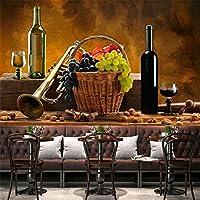Papel Tapiz Mural 3D Bar Moderno Ktv Fruta Botella De Vino Tinto Papel Tapiz Restaurante Cocina