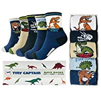 Tiny Captain Boy Socks Best For 4-7 Year Old Boys Ankle Cotton Sock Perfect Age 4 Gift Set (Black and Blue)