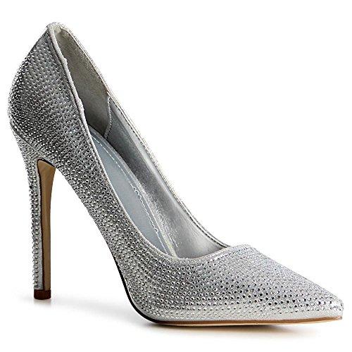 topschuhe24 1029 Damen Pumps Glitzer High Heels Silber