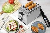 Acelink Automatik Toaster 2 Scheiben, 800 Watt Edelstahl-Toaster mit Brötchenaufsatz, Krümelschublade, 7-Bräunungsstufen (Silber) - 5