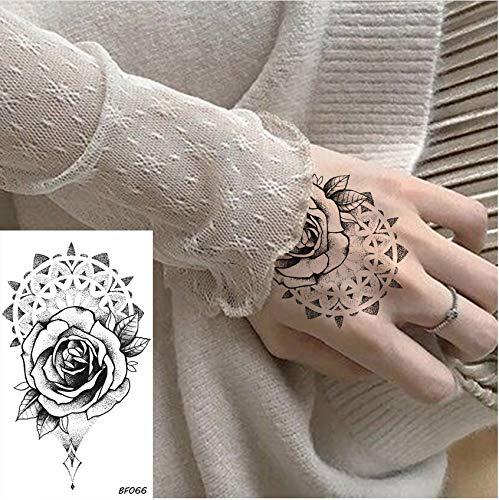 yyyDL etiqueta engomada colorida del tatuaje Pegatinas de tatuajes temporales Mujeres Arte Corporal Pintura Brazo Impermeable Tatuaje Flor Rosa Totem Chicas Falsas Tatoos Maquillaje 10 * 6 cm 8 unids