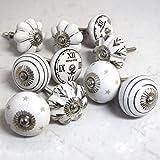 Set De 10 Pomos De Cerámica Gris Blanco Negro Plata Vintage Shabby Chic Relojes Estrellas Rayas Flores Setas, Pomos Para Mueble Armario Puerta