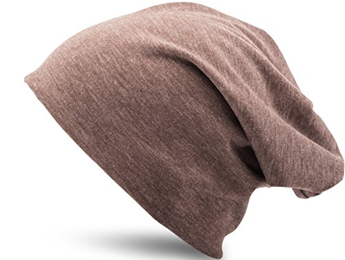 Jersey Baumwolle elastisches Long Slouch Beanie Unisex Mütze Heather in 35 verschiedenen Farben (3) (Heather Brown)