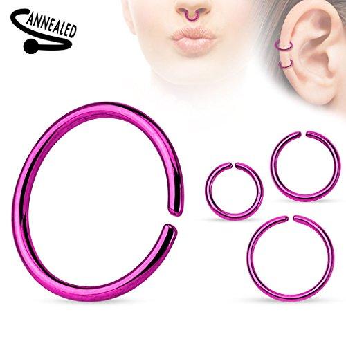 Piercing anneau titane anodisé sur acier chirurgical 316L Taille: 1.2 mm x 10 mm Couleur: Violet