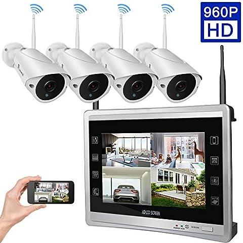 Luowice 4 Kanal 960P HD Drahtloses Wlan Überwachungskamera Set mit Monitor 4x Funk Wetterfeste Nachtsicht Überwachungskameras für innen und außen Bereich 1TB (Erweiterte Sicherheitssystem)