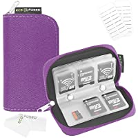 Memory Card Carrying Case - Suitable for SDHC and SD Cards - 8 Pages and 22 Slots - ECO-FUSED Microfiber Cleaning Cloth Included (Purple) …