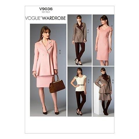 Vogue Patterns 9036 Tailles 6/8/10 format A5 Patron de couture Veste, haut, robe, jupe et Pantalon pour femme