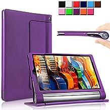 Yoga Tab 3 Pro/Yoga Tab 3 Plus 10 Funda Case, Infiland Folio PU Cuero Cascara Delgada con Soporte para Lenovo Yoga Tab 3 10 Pro / Yoga Tab 3 Plus 10.1 inch Tablet, Púrpura