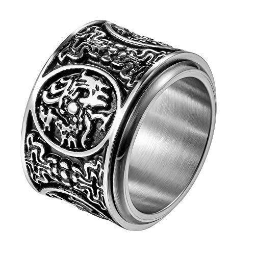 JewelryWe Schmuck Retro Herren-Ring Edelstahl Uralte 4 Wächter Bestien Chinesisch Mythologie Ringe Drehbar Bandring Band mit Gravur Größe 57