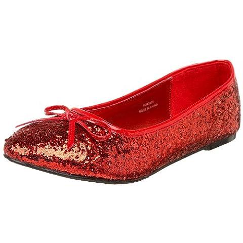 Heels Club Glitter retro Fancy Dress flat shoes pumps, Red Glitter, 4