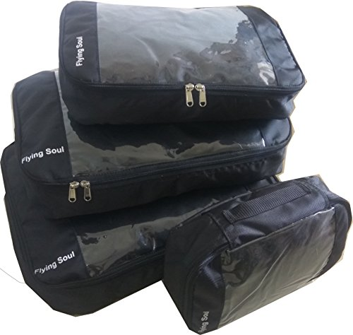 FLYING SOUL Packing Cubes Travel Organizer set of 4 (Black)