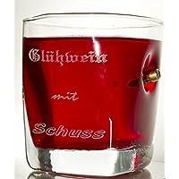 Trink Glas mit realem Geschoß cal.308 und Gravur - Glühwein mit Schuss-Geschenkidee