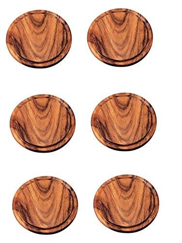 Preisvergleich Produktbild Neustanlo 6 Stück Grillteller / Brotzeitbrettchen aus Akazien Holz (25 cm Ø)