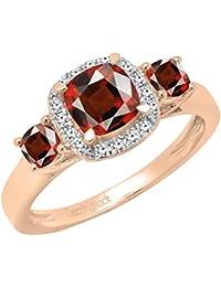 f10c865bd969 Anillo de compromiso de oro rosa de 14 quilates con piedra preciosa de 6 mm  y