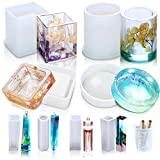 Resin Casting Molds, Vindar 8 Pack Silicone Epoxy Resin Mold for DIY, Jewelry Making and Crafting, with Measurement Cup, Sticks and Droppers (Hollow Resin Mold)