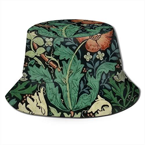 Meiya-Design William Morris Compton Blumen-Jugendstil-Muster, Unisex, modischer Druck, Eimermütze, Sommermütze, tragbar, Outdoor-Sonnenhut, Wandern, Strand, Sport