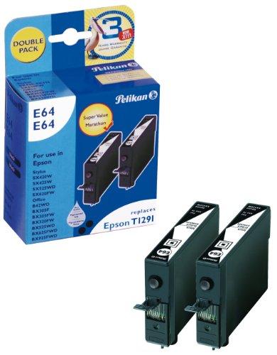 Preisvergleich Produktbild Pelikan E64E64 Druckerpatronen Double Pack ersetzt Epson T129 140, 2 x 12 ml, schwarz