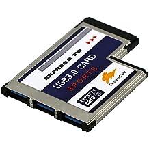 BlueBeach® 3 puerto USB 3.0 SuperSpeed PCMCIA expreso Card de 54 mm para el ordenador portátil del cuaderno / Windows 7 + Windows 8 compatible