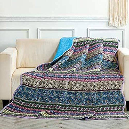 Alicemall Quilt aus Baumwolle mit Blumenmuster und Wellensaum Tagesdecke Sofa Decke Sommer Angenehm Weich Gesund Atmungsaktive Steppdecke 150 x 200 cm (Retro Blau)