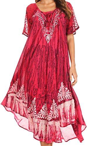 Sakkas 16601 - Ronny Lace Bestickte Mütze Hülse Krawatte Dye Wash Kaftan Kleid/Cover Up - Fuchsia/Navy - OS -