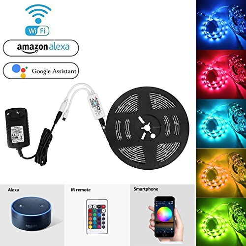Tira LED RGB de 5 metros con mando a distancia y control por Wifi marca Bawoo