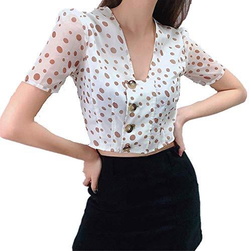 VeiXu Fünf-Punkt-Hauchhülse der Frauen, Hemd der Frauen V-Ansatz kurzer Punktnabel-Tupfen dünn,White,S - Puff Sleeve Cardigan
