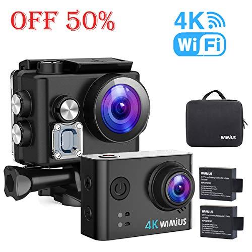 WiMiUS Sport Action Kamera 4K Ultra HD Camcorder 12MP WiFi Wasserdichte Unterwasserkameras 40M 170 Grad Weitwinkel 2 Zoll LCD-Bildschirm Sony Sensor 2 Wiederaufladbare Batterien und Zubehör