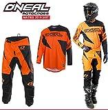 Motorradanzüge Oneal Matrix 2-teiler Motorradkombi, Motocross-Rennkleidung Hose Jersey Anzug für Erwachsene MX Quad Sportkleidung, Rennanzug Motorradbekleidung (Orange,S/30)