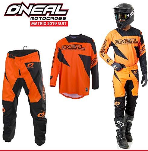 Motorradanzüge Oneal Matrix 2-teiler Motorradkombi, Motocross-Rennkleidung Hose Jersey Anzug für Erwachsene MX Quad Sportkleidung, Rennanzug Motorradbekleidung (Orange,XL/36) Off Road Hose Riding Gear
