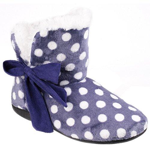 Mirak Cleremont Ladies Bootie Bow Dot Slipper Blu