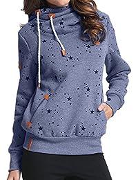 StyleDome Female Hoody Winter Sweatshirt Langarm Jumper Casual Hohe Kragen Pocket Pullover Kurze Jacke Tops Outwear