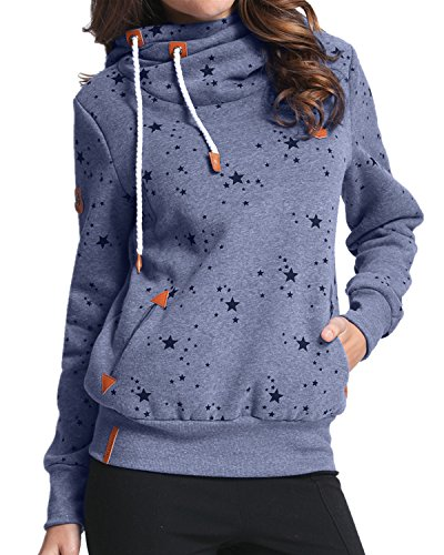 StyleDome Winter Damen Hoodies Pullover Langarm Jacke Top Sweatshirt Pullover Tops Jumper Blau471130 XL