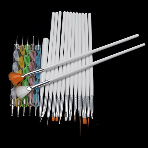 Buildent(TM)15Pcs/Set Nail Art Brushes Set Painting Detailing Pen +5 Pcs 2 Ways Dotting Pen Marbleizing Tool for Manicure Nail Styling Kits